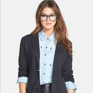 Caslon | Gray & Black Striped Cotton Jersey Blazer